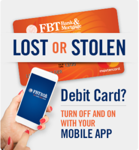 Lost or Stolen Debit Card? Turn off and on with your mobile APP